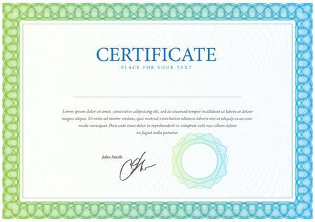 Certificaat. Template diploma, valuta. Vector