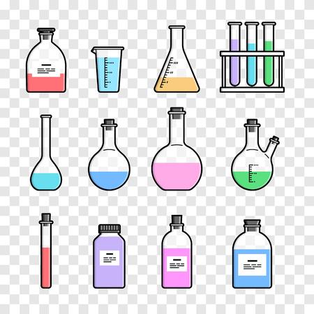 flask: Set chemical flask. Erlenmeyer flask, distilling flask, volumetric flask, test tube. Vector illustration.