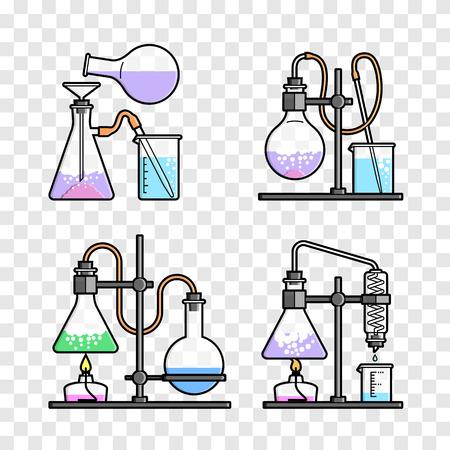 Establecer frasco químico. erlenmeyer, frasco de destilación, matraz aforado, tubo de ensayo. Ilustración del vector. Ilustración de vector