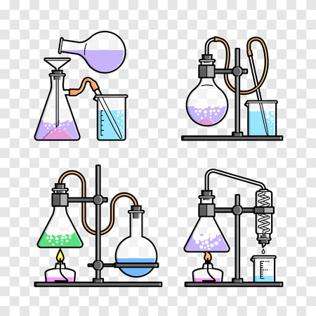 distilling: Set chemical flask. Erlenmeyer flask, distilling flask, volumetric flask, test tube. Vector illustration.