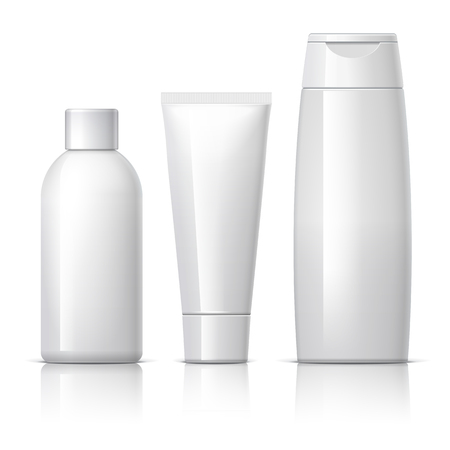 shampoo bottles: set of cosmetic products on a white background. Cosmetic package collection for cream, soups, foams, shampoo. vector illustration.
