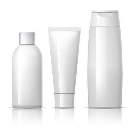 champ�: un conjunto de productos cosm�ticos en un fondo blanco. colecci�n de paquetes de cosm�ticos para la crema, sopas, espumas, champ�. ilustraci�n vectorial.