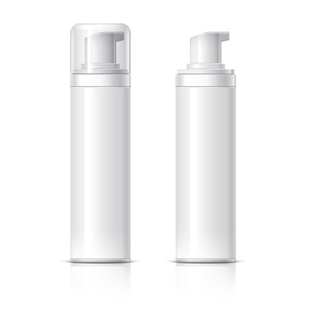 Realistic Cosmetic bottle can sprayer container. Dispenser for cream, soups, foams and other cosmetics With lid and without. Template For Mock up Your Design. vector illustration.