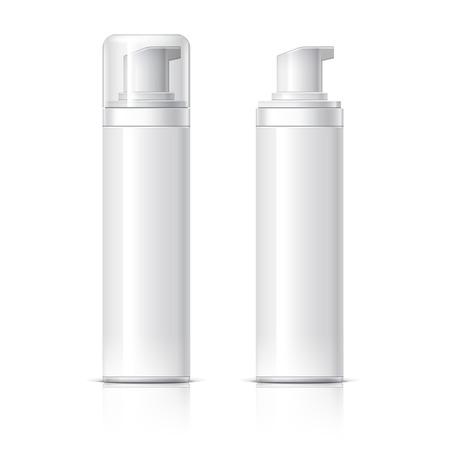 Realistico bottiglia estetica può spruzzatore contenitore. Dispenser per la crema, zuppe, schiume e altri cosmetici con coperchio e senza. Modello Per Mock up Your Design. illustrazione vettoriale.