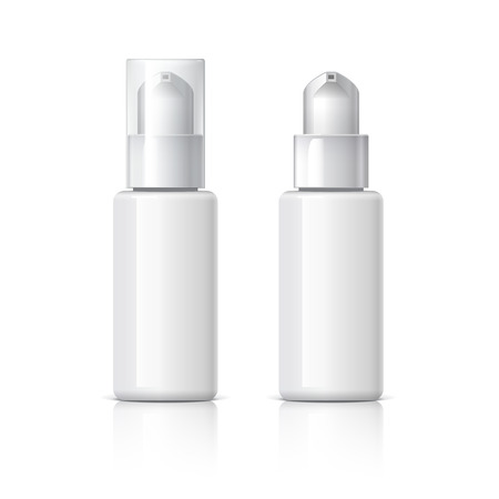 cream tube: Realistic Cosmetic bottle can sprayer container. Dispenser for cream, soups, foams and other cosmetics With lid and without. Template For Mock up Your Design. vector illustration.