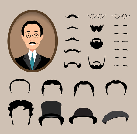 haircuts: Big set Haircuts, glasses, beard, mustache. to create a retro style icon male faces.  Vector illustration. Illustration