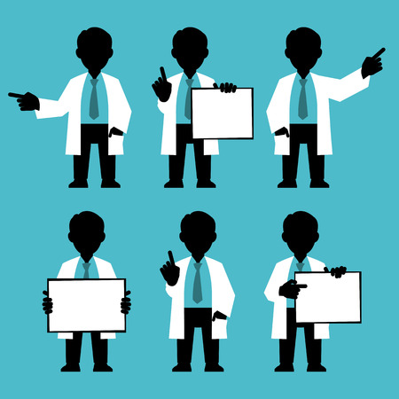 anything: Silhouettes set. Character IT specialist, scientist, doctor, engineer. Set of different poses and gestures paying attention or point to anything. Vector illustration of a man in a white coat. Flat style.