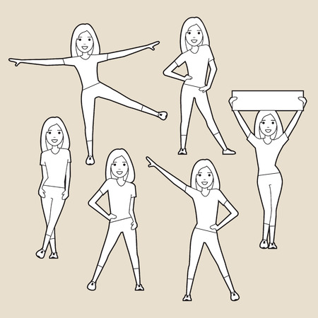 women sport: Sport women. silhouettes set. Line art.  A character in various poses.