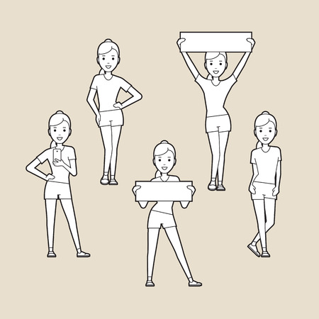aerobics class: Sport women. silhouettes set. Line art.  A character in various poses.