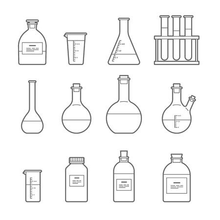 Establecido en el estilo de línea. Frasco del producto químico. erlenmeyer, frasco de destilación, matraz aforado, tubo de ensayo. Ilustración del vector. Ilustración de vector