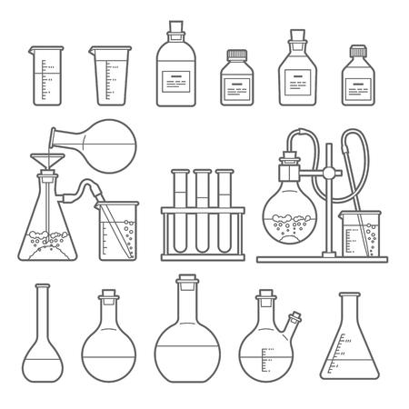 Establecido en el estilo de línea. Frasco del producto químico. erlenmeyer, frasco de destilación, matraz aforado, tubo de ensayo. Ilustración del vector.