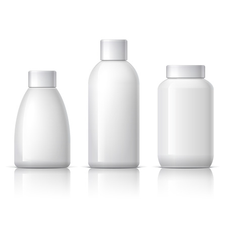 set of cosmetic products on a white background. Cosmetic package collection for cream, soups, shampoo. vector illustration.