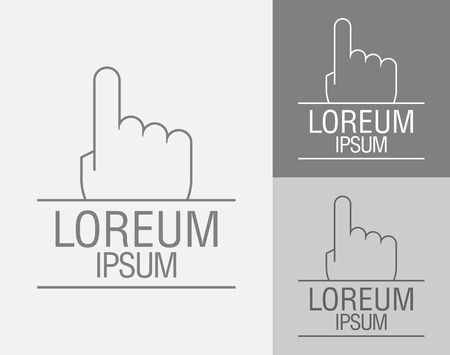 poke: Vector sign template. Hand with a raised index finger up. Vector illustration