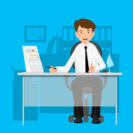 Biznesmen, menedżer, konsultant w pracy. Człowiek na krześle przy stole. Płaski projekt ilustracji wektorowych. Ilustracje wektorowe