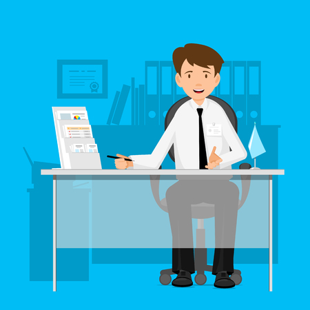 happy employee: Businessman, manager, consultant at work. A man in a chair at a table. Flat Design Vector illustration.