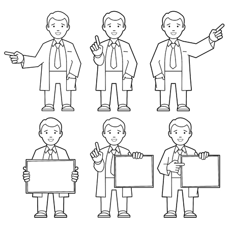 Character IT specialist, scientist, doctor, engineer. Line art. Set of different poses and gestures paying attention or point to anything. Vector illustration of a man in a white coat.