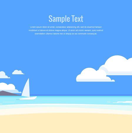 panoramic beach: Beautiful seascape. Azure sea and white sand. Vector illustration. Illustration