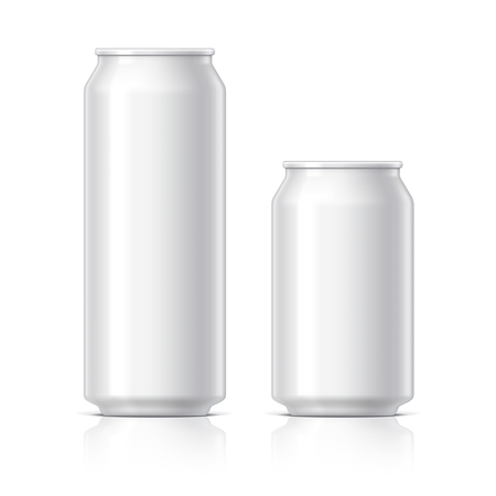 aluminum cans: light and shiny aluminum cans for beer and soft drinks or energy. Packaging 500 and 330 ml. Object, shadow, and reflection on separate layers. Vector illustration Illustration