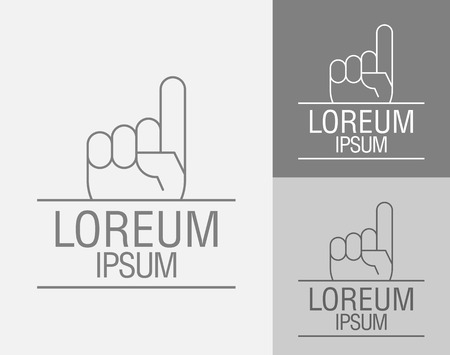 clench: Vector sign template. Hand with a raised index finger up. Vector illustration