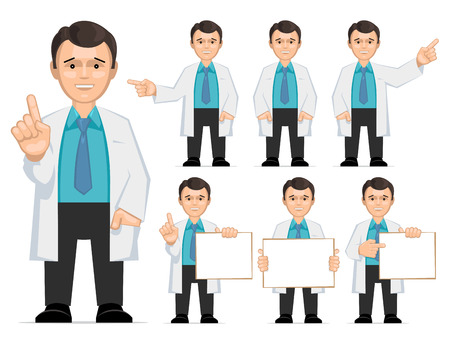researcher: Doctor, scientist, teacher. Set of different poses and gestures paying attention or point to anything. Vector illustration of a man in a white coat. Flat style.