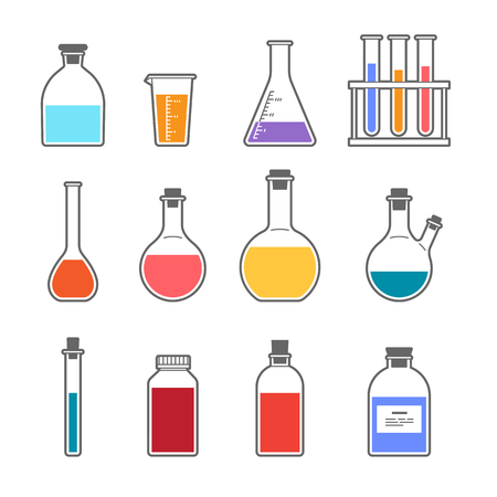distilling: Set chemical flask Erlenmeyer flask distilling flask, volumetric flask, test tube. Vector illustration.