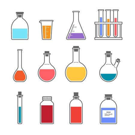 erlenmeyer: Set chemical flask Erlenmeyer flask distilling flask, volumetric flask, test tube. Vector illustration.