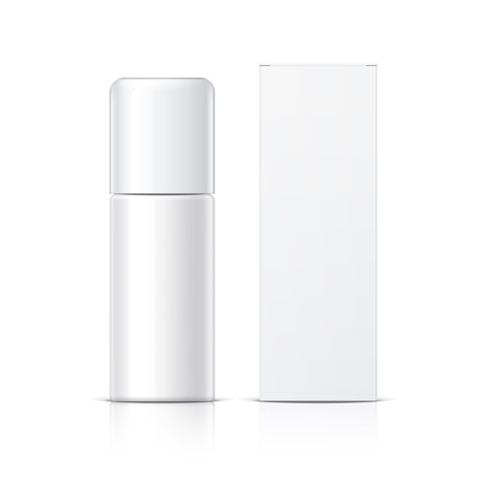 freshener: Realistic White Cosmetics bottle can Spray and packaging, Deodorant, Air Freshener. Object, shadow, and reflection on separate layers. Vector illustration