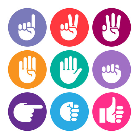 outcry: hand gestures. set of color icons. Flat style vector icons, emblem, symbol For Your Design Illustration