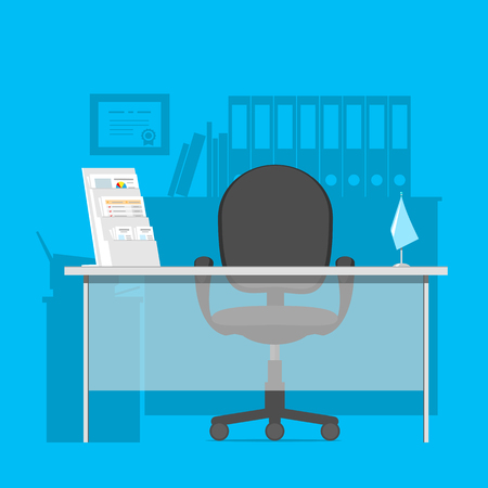 bank manager: Workspace, for a specialist in a bank, consultant or manager in office interior. Vector illustration. Illustration