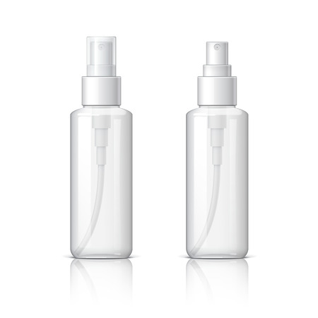 Realistic Cosmetic glass bottle can sprayer container. Dispenser for cream, soups, and other cosmetics With lid and without. Template For Mock up Your Design. vector illustration.
