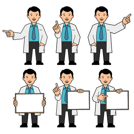 technician: The character of men. A man in a tie and a white lab coat. Different poses. The man points hand. A man holds a placard. Man draws attention, raising thumb up. Vector illustration Stock Photo
