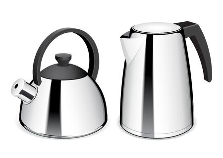 kettles: Tetera y hervidor eléctrico. Brillante caldera de acero inoxidable. Ilustración del vector