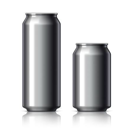ml: Black shiny aluminum cans for beer and soft drinks or energy. Packaging 500 and 330 ml. Object, shadow, and reflection on separate layers. Vector illustration
