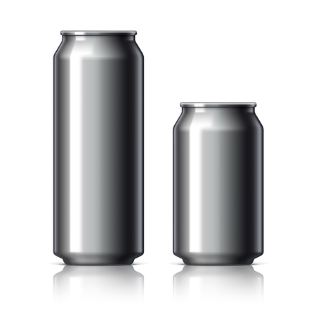aluminum cans: Black shiny aluminum cans for beer and soft drinks or energy. Packaging 500 and 330 ml. Object, shadow, and reflection on separate layers. Vector illustration