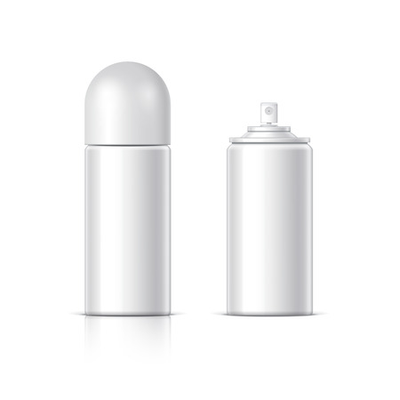 odors: Realistic White Cosmetics bottle can Spray, Deodorant, Air Freshener. With lid and without. Object, shadow, and reflection on separate layers. Vector illustration