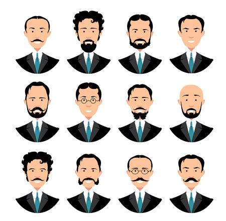 anciano: establece retrato caballero de época. Colección retro de diversos rostros masculinos. Diseñar avatar plana de los medios sociales. Ilustración del vector. Vectores