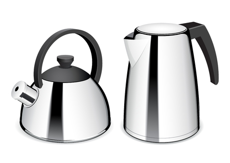 stainless steel pot: Teapot and electric kettle. Shiny stainless steel kettle. Vector Illustration Illustration