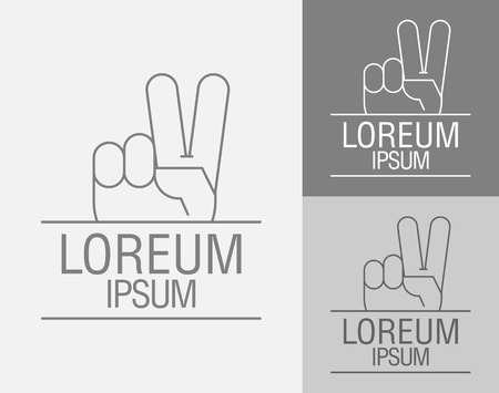 forefinger: Vector sign template. Hand with raised forefinger and middle finger up. Sign of victory. Vector illustration