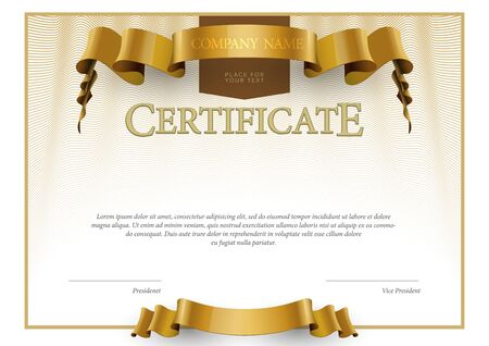 certificate template: Modern Certificate. horizontal Template diplomas currency. Vector