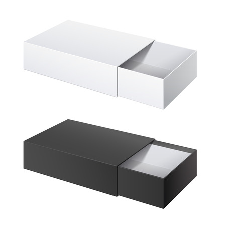 Realistic Package Cardboard Sliding Box Opened. black and White box pack  For small items, matches, and other things. Vector Illustration 矢量图像
