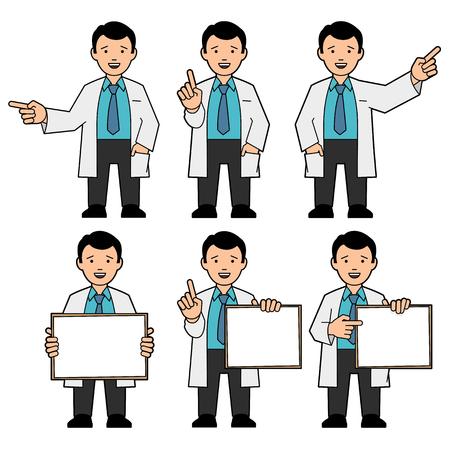 bata blanca: El carácter de los hombres. Un hombre en un lazo y una bata blanca. Diferentes poses. La mano del hombre puntos. Un hombre sostiene un cartel. El hombre llama la atención, levantando el pulgar arriba. ilustración vectorial
