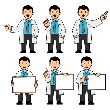 medical student: The character of men. A man in a tie and a white lab coat. Different poses. The man points hand. A man holds a placard. Man draws attention, raising thumb up. Vector illustration Illustration