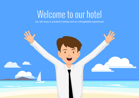 hotel manager: Male manager of the hotel welcomes its guests. The hotel manager on a background seascape.