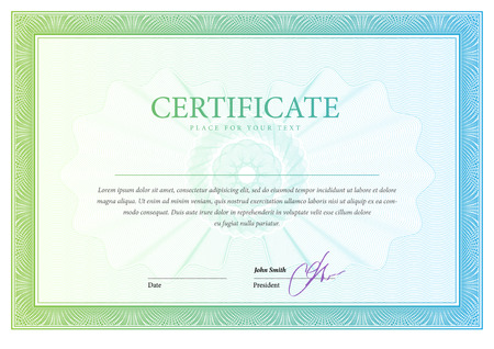 stock certificate: Certificate. Template diplomas currency. Award background. Gift voucher. Vector