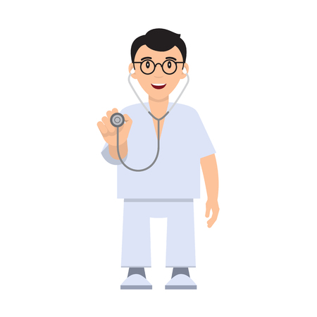 be careful: Character doctor with a stethoscope. Doctor health care. Vector illustration. Flat Design