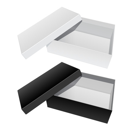 shoes vector: White and Black blank Package Box Opened with the cover removed. For shoes, electronic device and other products. Vector illustration Illustration