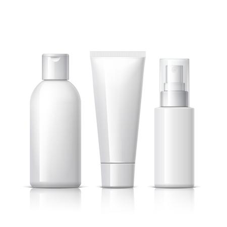 productos de belleza: un conjunto de productos cosméticos en un fondo blanco. colección de paquetes de cosméticos para la crema, sopas, espumas, champú. Objeto, la sombra y la reflexión en capas separadas. ilustración vectorial.