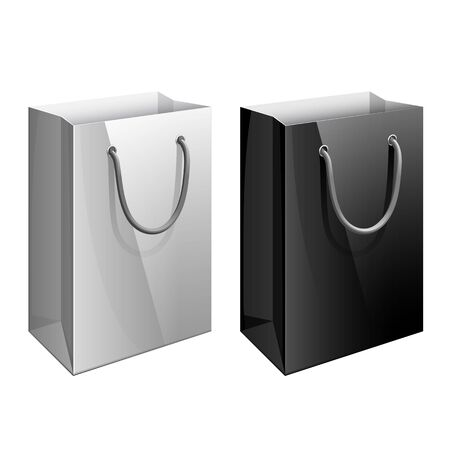 packet: Paper bag. Template for the design of branded packages store or retail chain. Vector illustration
