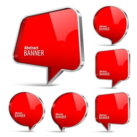 gloss banner: Shiny gloss red banner. Set on a white background. Vector illustration.