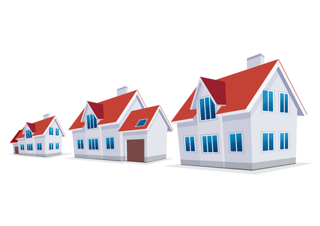 sold small: House. Sweet home. A set of three houses, with and without a garage. Vector icon. Illustration